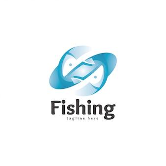 Icona moderna astratta di logo del pesce