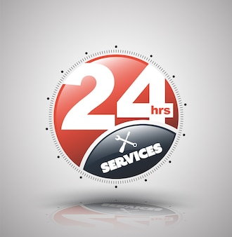 Icona moderna servizi 24 ore per attività di servizio non stop.