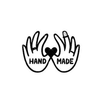 Icona o logo fatti a mano. icona di timbro vintage con scritte a mano e immagine di mani. illustrazione d'epoca per banner ed etichetta