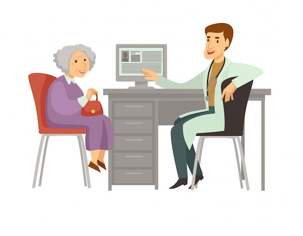 Icona paziente del fumetto di vettore di visita paziente della donna anziana