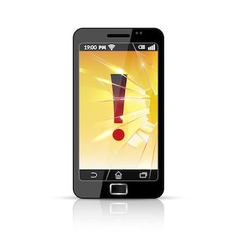 Icona piana del telefono rotto rotto