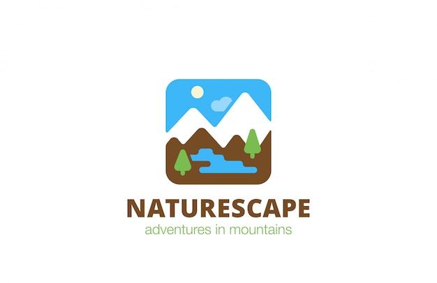 Icona piana di logo di natura quadrata paesaggio viaggio.