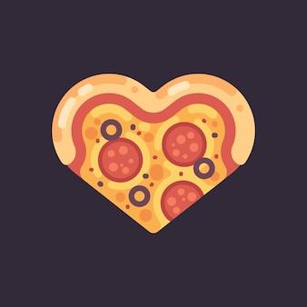 Icona piana di pizza a forma di cuore
