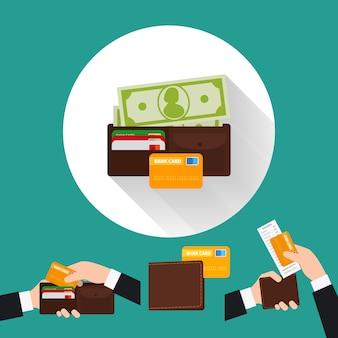 Icona piana di portafoglio con carta e contanti