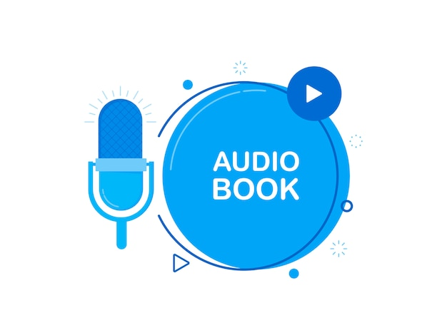 Icona piatta per audiolibro, con microfono recorde.
