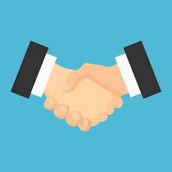 Icona piatta stretta di mano. accordo di riunione.