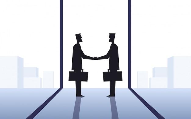 Icona piatto design della silhouette due uomini d'affari facendo stretta di mano in ufficio con lo sfondo del paesaggio urbano