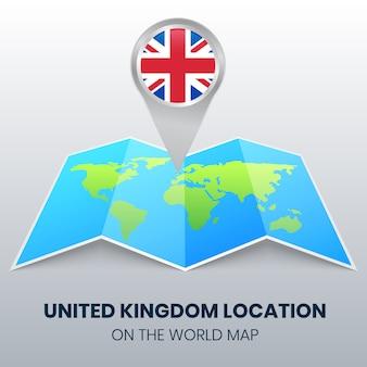 Icona posizione del regno unito sulla mappa del mondo, icona spilla rotonda del regno unito