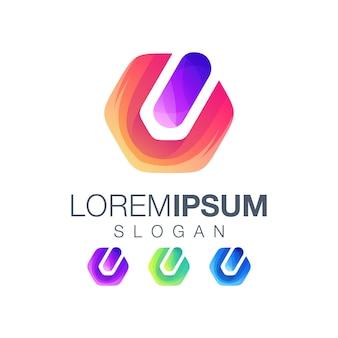 Icona pulsante di accensione gardient logo design