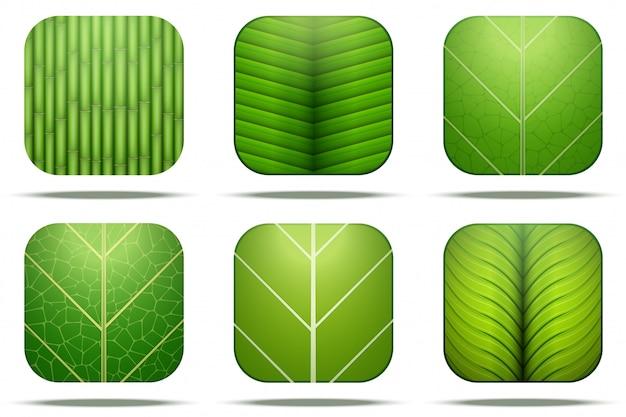 Icona quadrata di foglie