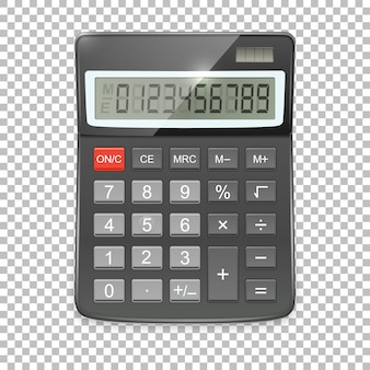 Icona realistica calcolatrice su sfondo trasparente, modello in.