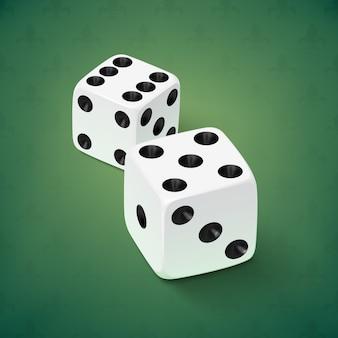 Icona realistica dei dadi bianchi su sfondo verde. illustrazione