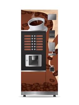 Icona realistica del distributore automatico del caffè con il pannello di controllo elettronico e il tasto di opzione isolati