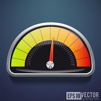 Icona realistica del tachimetro. illustrazione vettoriale velocità