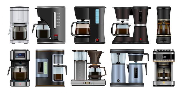 Icona realistica dell'insieme della macchinetta del caffè. macchina realistica isolata dell'icona dell'insieme per il caffè. illustrazione caffettiera su sfondo bianco.