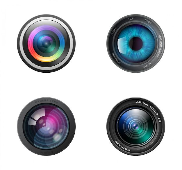 Icona realistica di quattro obiettivi della fotocamera