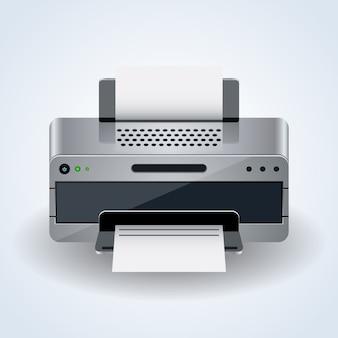 Icona realistica di vettore 3d della stampante da tavolino moderna su fondo bianco