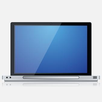 Icona realistica di vettore del computer portatile moderno su fondo bianco