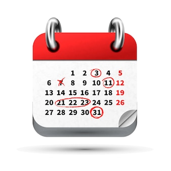 Icona realistica luminosa del calendario mensile con segni rossi nelle date isolate su bianco