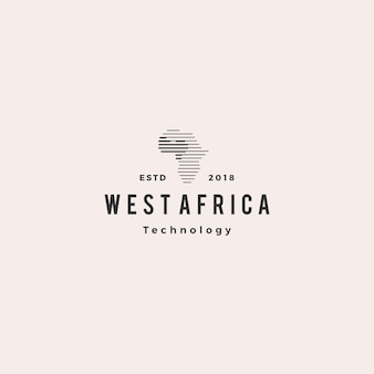 Icona retrò vintage di tecnologia digitale logo hipster di africa