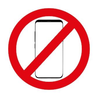 Icona rossa che nega l'utilizzo del telefono su bianco.