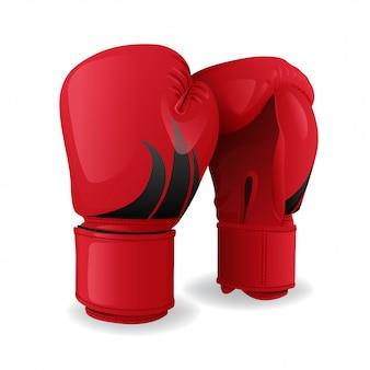 Icona rossa realistica dei guantoni da pugile isolata, attrezzatura di sport