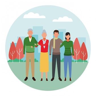 Icona rotonda dell'icona rotonda del personaggio dei cartoni animati dell'avatar della famiglia