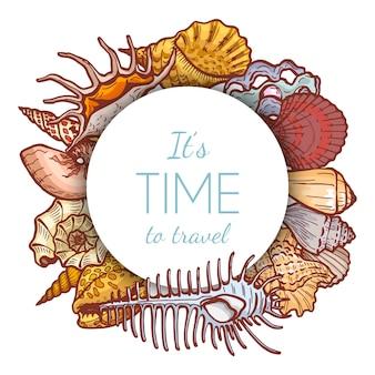 Icona rotonda della conchiglia di concetto di paradiso tropicale, disposizione del testo di affari isolata su bianco, illustrazione del fumetto. è tempo di viaggiare.