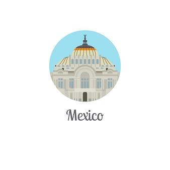 Icona rotonda isolata punto di riferimento del palazzo del messico