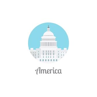 Icona rotonda isolata punto di riferimento dell'america