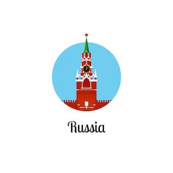 Icona rotonda isolata punto di riferimento della russia
