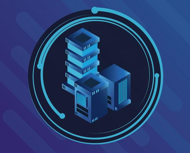 Icona rotonda tecnologia digitale blu