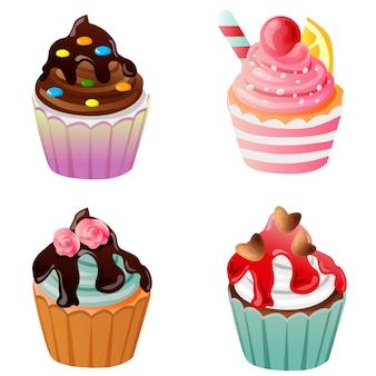Icona set delizioso dolce cupcake