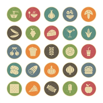 Icona set di cibo per uso personale e commerciale