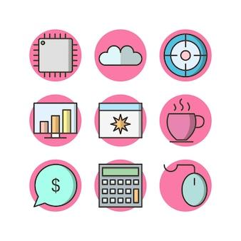 Icona set di ottimizzazione dei motori di ricerca