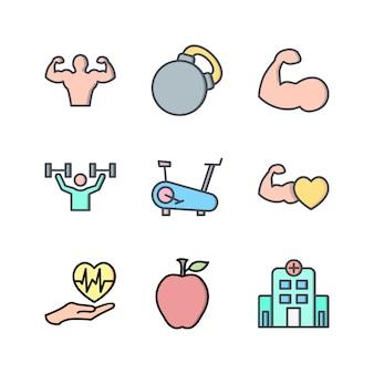 Icona set di salute