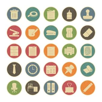 Icona set di ufficio per uso personale e commerciale