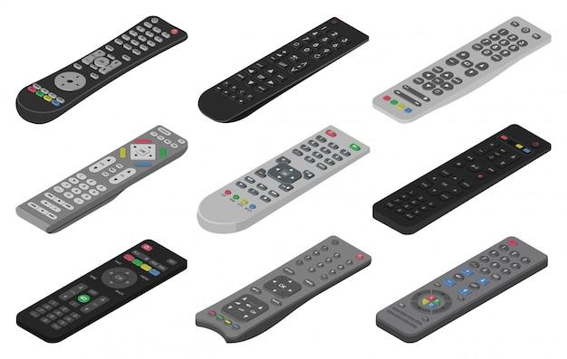 Icona set isometrico remoto. controllo isometrico isolato tv dell'icona dell'insieme. illustrazione remota su sfondo bianco.