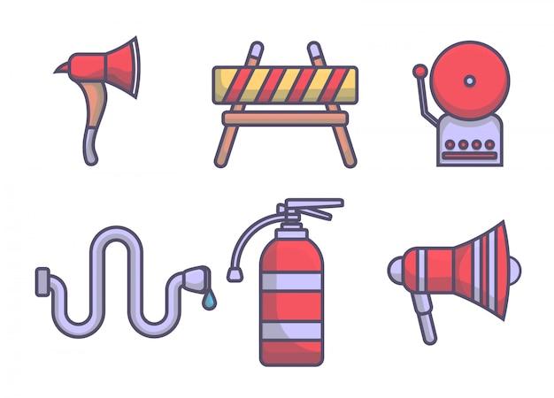 Icona set linee di elementi di vigili del fuoco