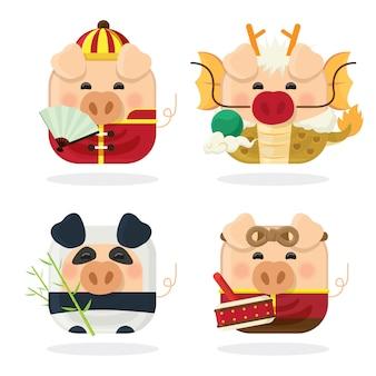 Icona set quattro maiale e nuovo anno cinese 2019