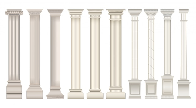 Icona set realistico colonna antica. colonna classica isolata dell'icona stabilita realistica. illustrazione antica colonna su sfondo bianco.
