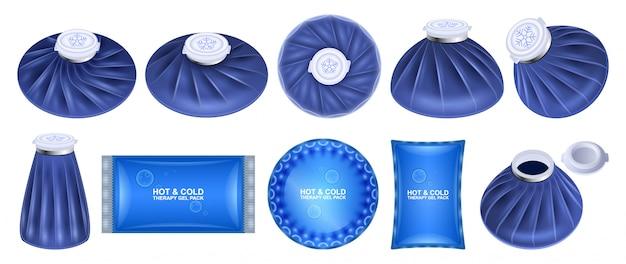 Icona set realistico di borsa ghiaccio. sacchetto freddo isolato realistico set di icone. illustrazione borsa ghiaccio su sfondo bianco.