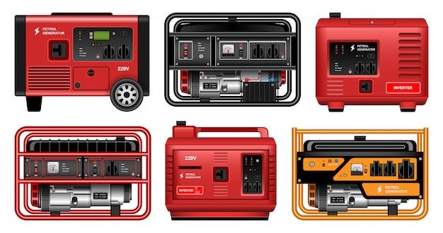 Icona set realistico generatore elettrico.