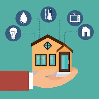 Icona set tecnologia casa intelligente
