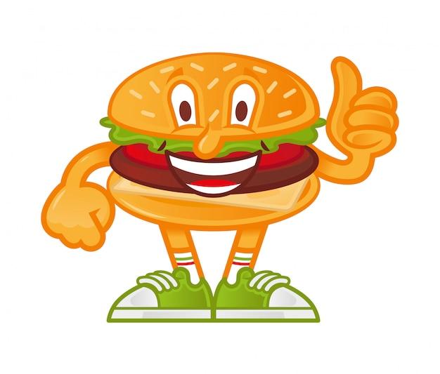 Icona simpatico sorriso personaggio dei cartoni animati hamburger americano che si levano in piedi e mostrano il pollice in su come esso.