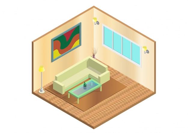 Icona soggiorno isometrica.