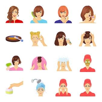 Icona stabilita del fumetto dei capelli di cura. salone stabilito dell'icona del fumetto isolato. cura dei capelli.