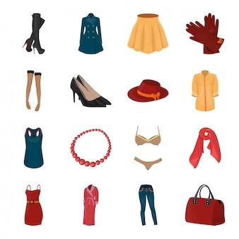 Icona stabilita del fumetto dei vestiti di moda. accessori per l'illustrazione. vestiti stabiliti isolati di modo dell'icona del fumetto.