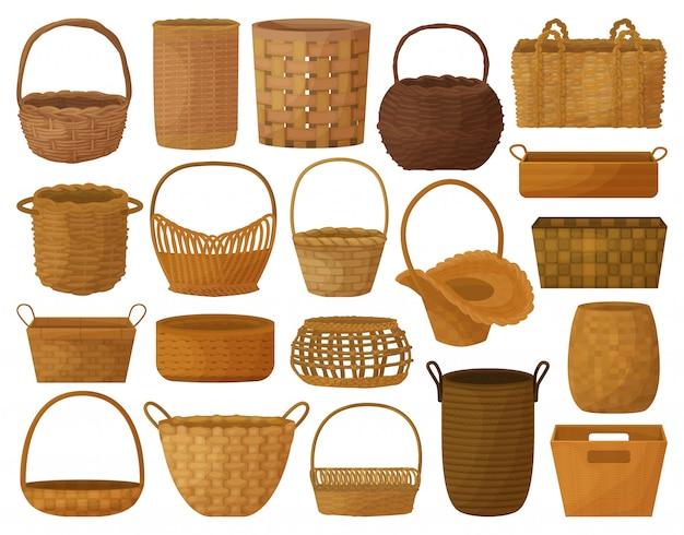 Icona stabilita del fumetto del cestino di vimini. illustrazione accessorio in legno su sfondo bianco. canestro di vimini stabilito dell'icona stabilita isolata del fumetto.