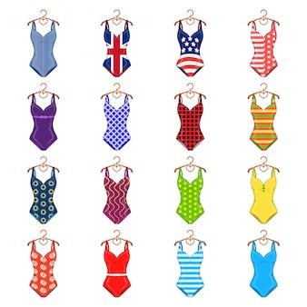 Icona stabilita del fumetto del costume da bagno. bikini stabilito dell'icona del fumetto isolato di costumi da bagno. costume da bagno.